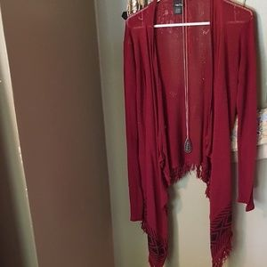 Maroon Knit Cardigan